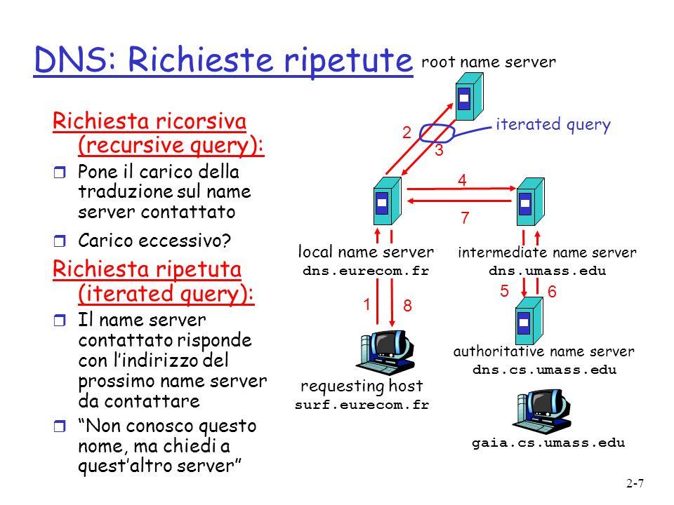 2-7 DNS: Richieste ripetute Richiesta ricorsiva (recursive query): r Pone il carico della traduzione sul name server contattato r Carico eccessivo? Ri