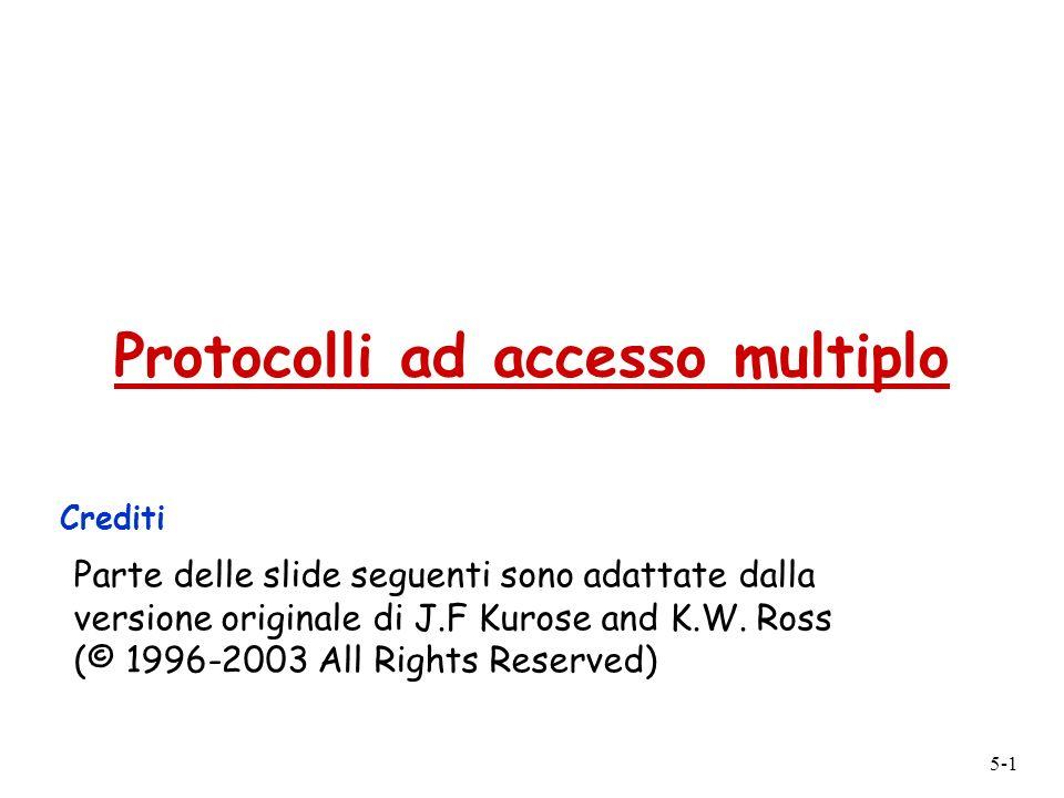 5-1 Protocolli ad accesso multiplo Crediti Parte delle slide seguenti sono adattate dalla versione originale di J.F Kurose and K.W. Ross (© 1996-2003