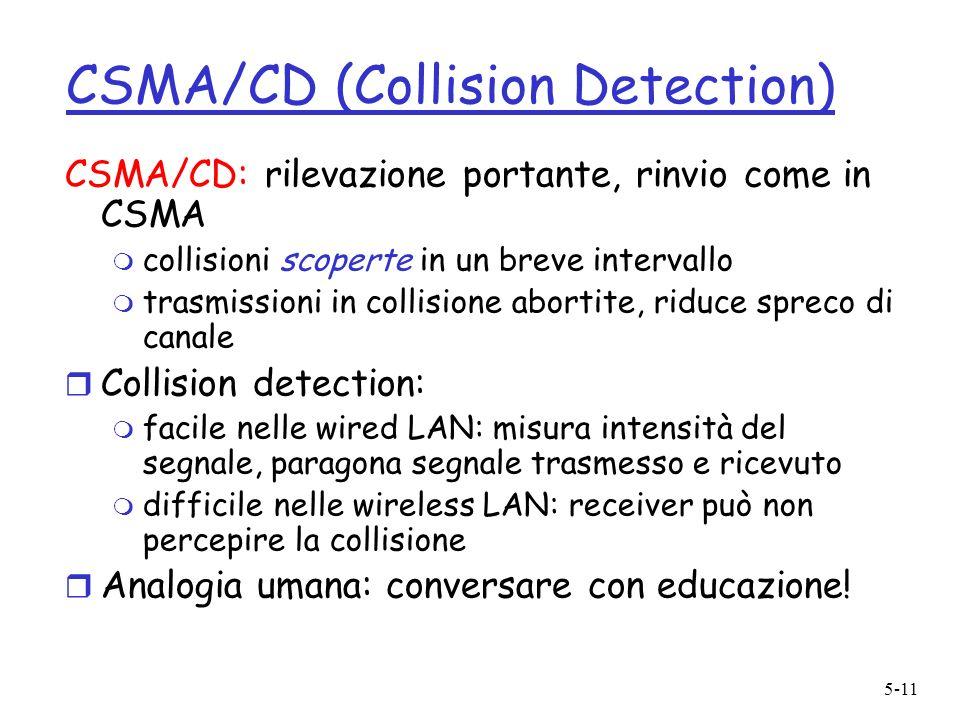 5-11 CSMA/CD (Collision Detection) CSMA/CD: rilevazione portante, rinvio come in CSMA m collisioni scoperte in un breve intervallo m trasmissioni in c
