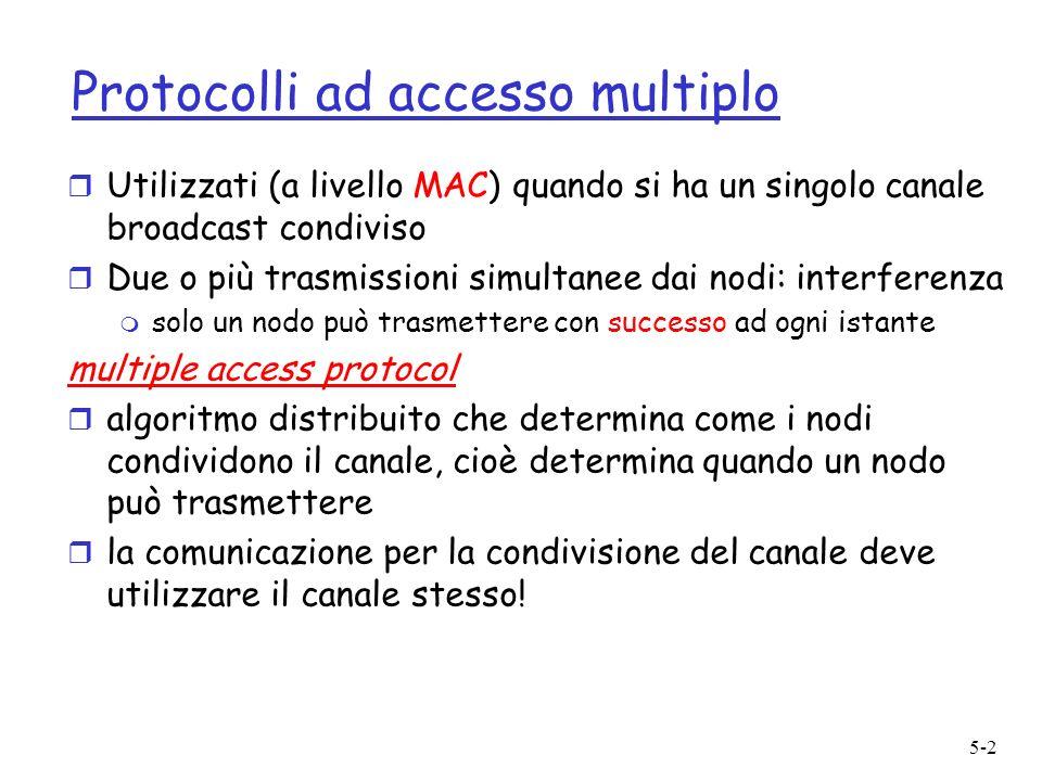 5-2 Protocolli ad accesso multiplo r Utilizzati (a livello MAC) quando si ha un singolo canale broadcast condiviso r Due o più trasmissioni simultanee