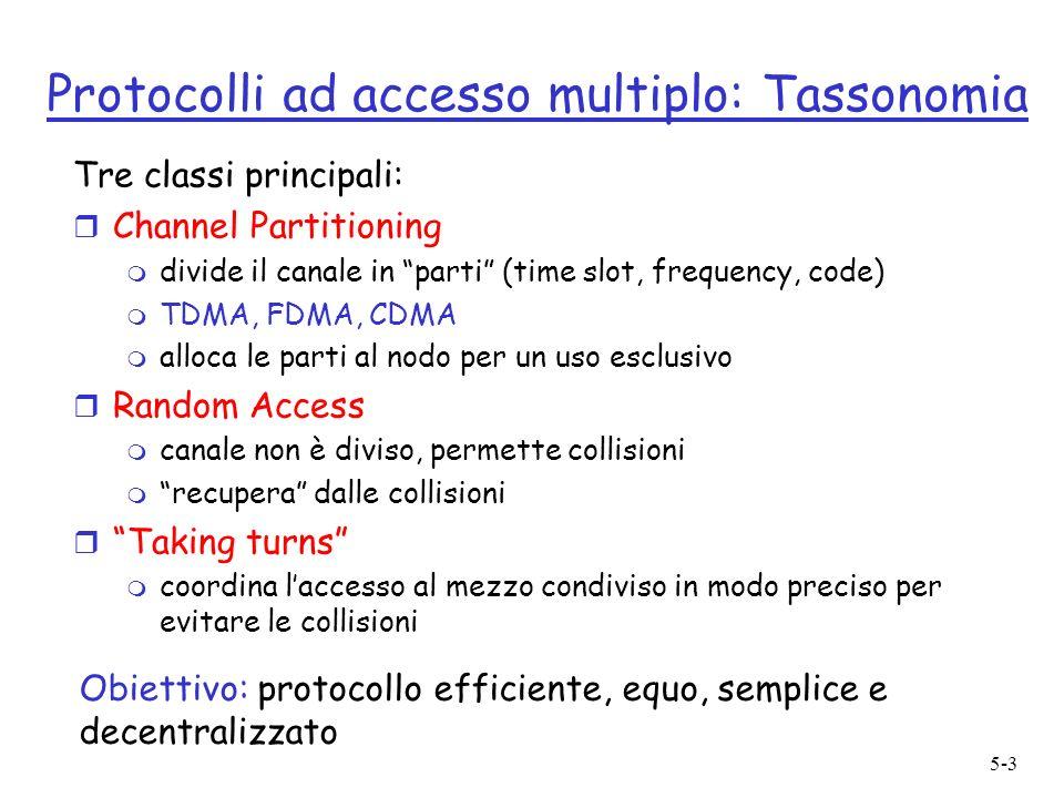 5-3 Protocolli ad accesso multiplo: Tassonomia Tre classi principali: r Channel Partitioning m divide il canale in parti (time slot, frequency, code)
