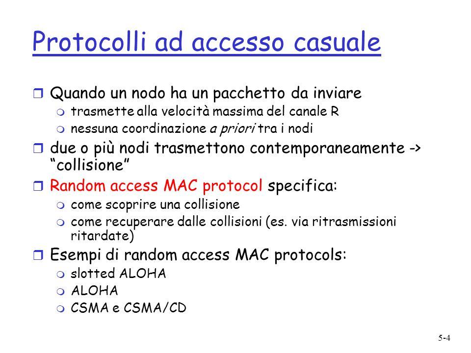 5-4 Protocolli ad accesso casuale r Quando un nodo ha un pacchetto da inviare m trasmette alla velocità massima del canale R m nessuna coordinazione a