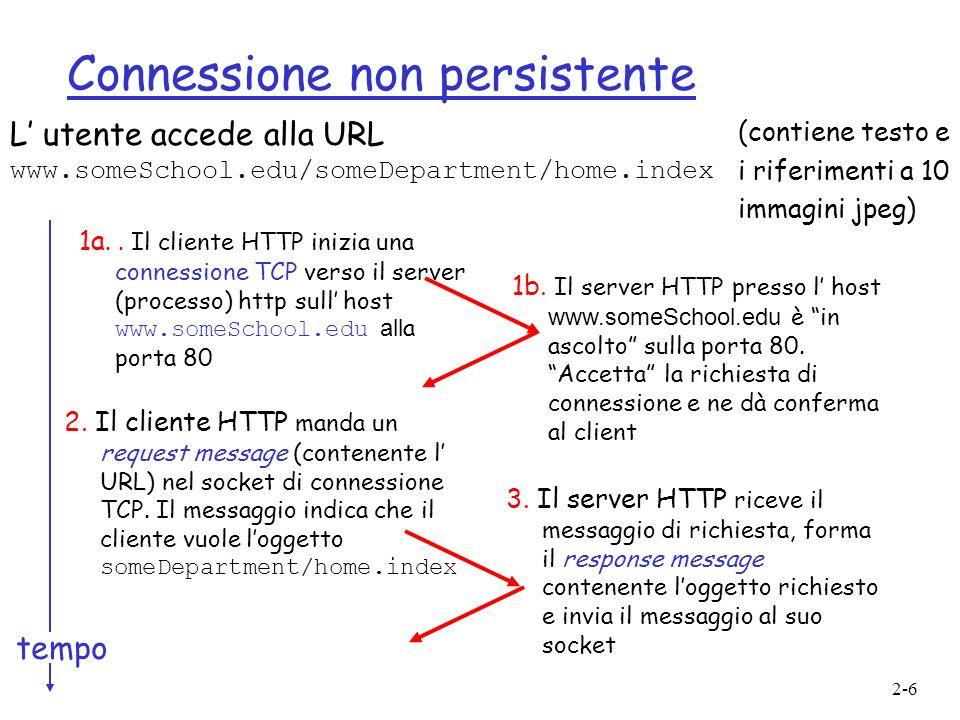 2-6 Connessione non persistente L utente accede alla URL www.someSchool.edu/someDepartment/home.index 1a.. Il cliente HTTP inizia una connessione TCP