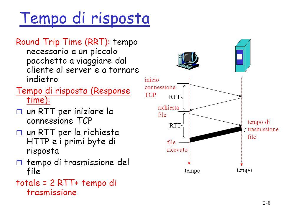 2-8 Tempo di risposta Round Trip Time (RRT): tempo necessario a un piccolo pacchetto a viaggiare dal cliente al server e a tornare indietro Tempo di r