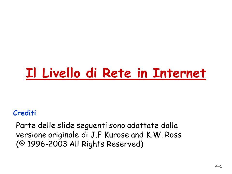 4-1 Il Livello di Rete in Internet Crediti Parte delle slide seguenti sono adattate dalla versione originale di J.F Kurose and K.W. Ross (© 1996-2003