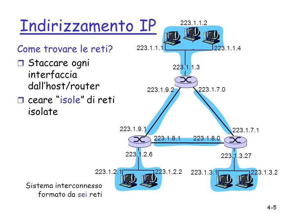 4-6 Indirizzi IP 0 network host 10 network host 110 networkhost 1110 multicast address A B C D classe 1.0.0.0 a 127.255.255.255 128.0.0.0 a 191.255.255.255 192.0.0.0 a 223.255.255.255 224.0.0.0 a 239.255.255.255 32 bits data la nozione di rete, riesaminiamo gli indirizzi IP: class-full addressing: r Broadcast: 255.255.255.255