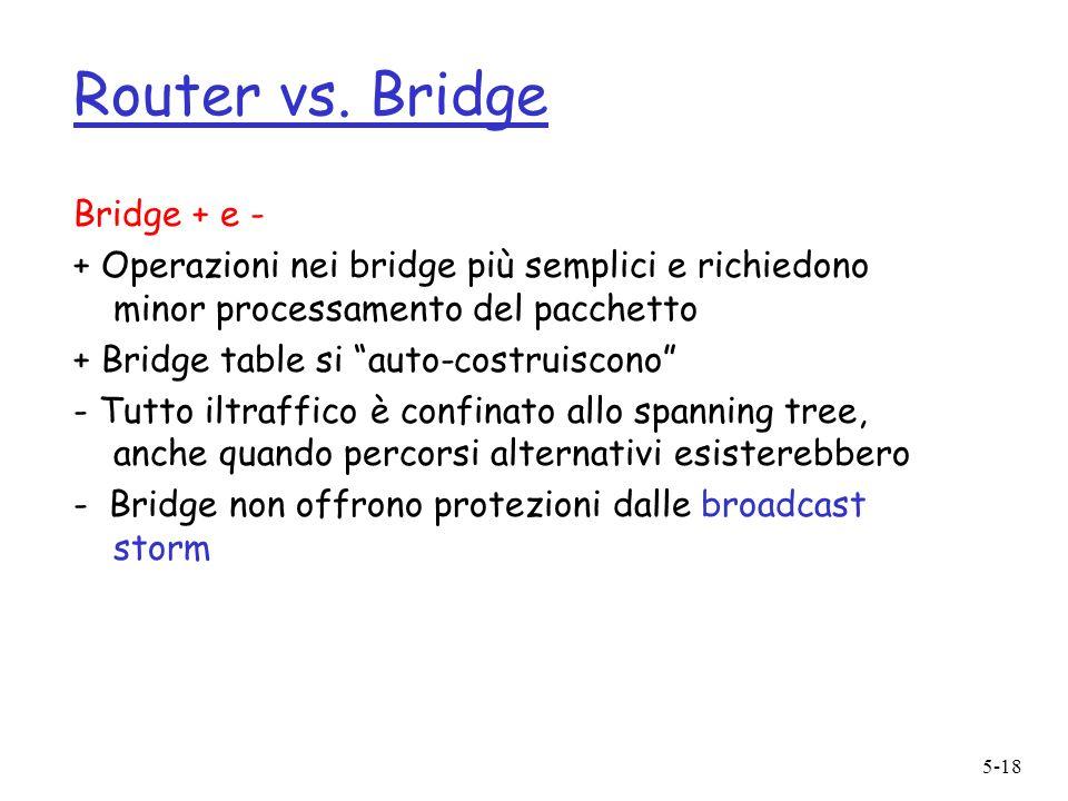 5-18 Router vs. Bridge Bridge + e - + Operazioni nei bridge più semplici e richiedono minor processamento del pacchetto + Bridge table si auto-costrui