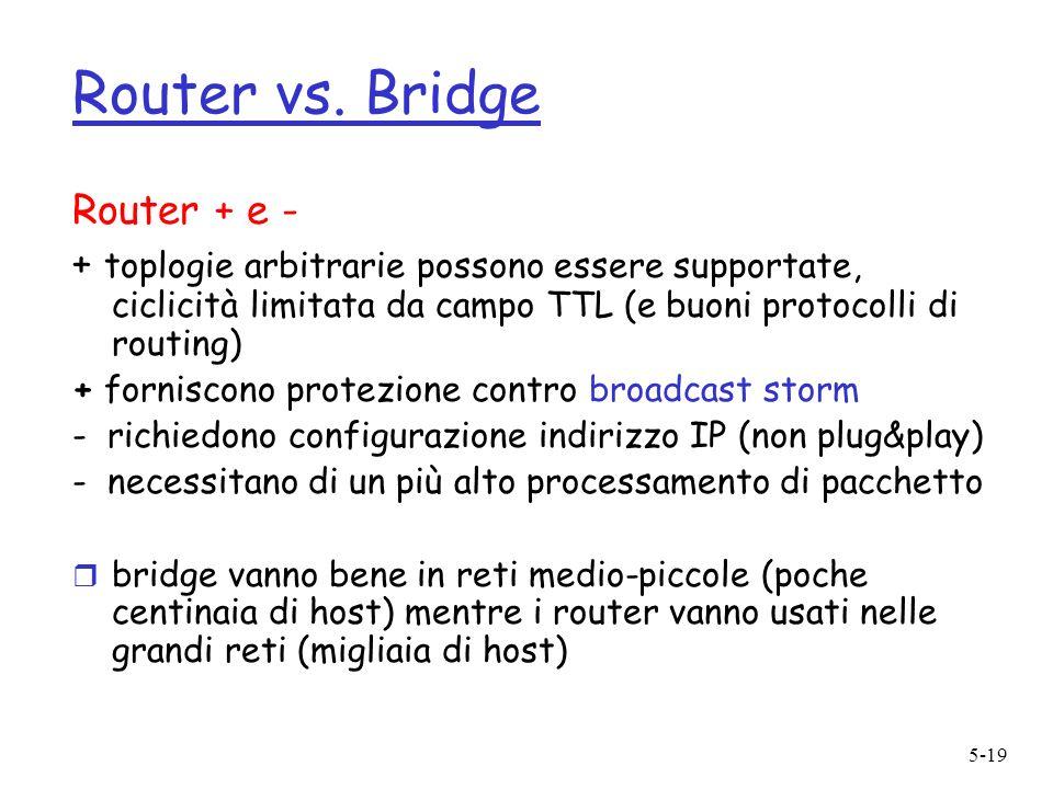 5-19 Router vs. Bridge Router + e - + toplogie arbitrarie possono essere supportate, ciclicità limitata da campo TTL (e buoni protocolli di routing) +