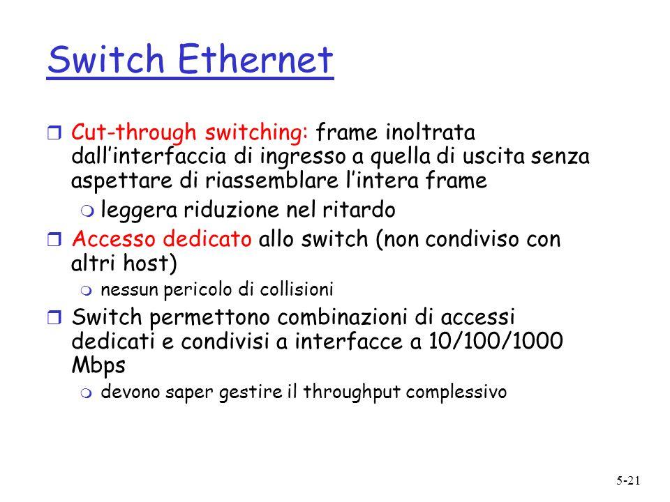 5-21 Switch Ethernet r Cut-through switching: frame inoltrata dallinterfaccia di ingresso a quella di uscita senza aspettare di riassemblare lintera f