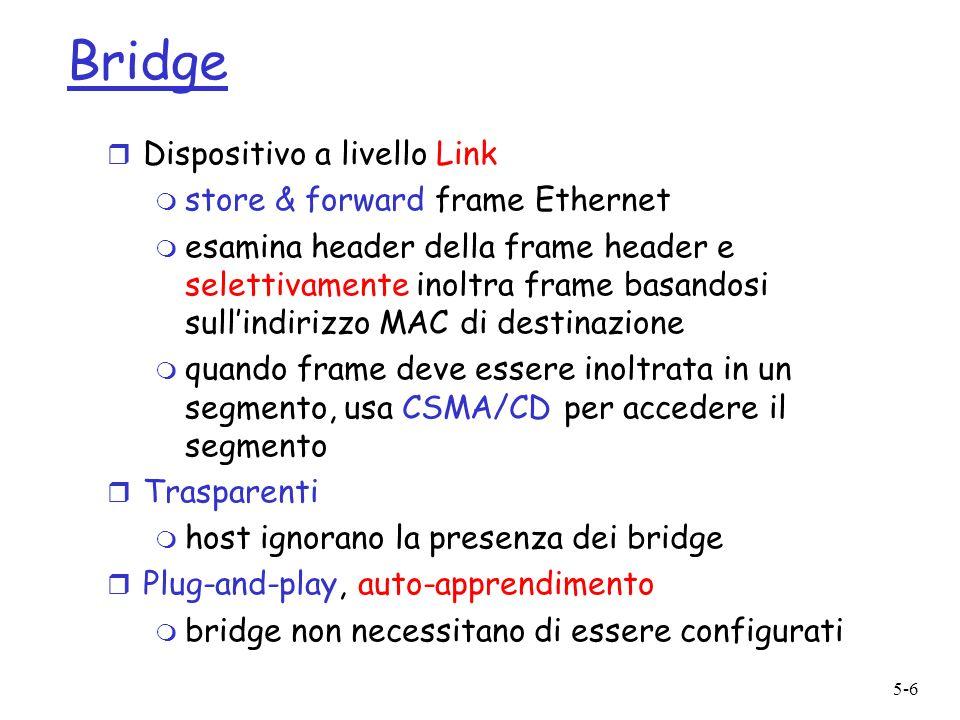 5-7 Bridge: Isolamento traffico r Listallazione dei bridge spezza la LAN in segmenti di LAN r I bridge filtrano i pacchetti: m frame appartenenti allo stesso segmento di LAN non sono di solito inoltrate agli altri segmenti di LAN m segmenti diventano domini di collisione separati bridge collision domain collision domain = hub = host LAN (IP network) LAN segment