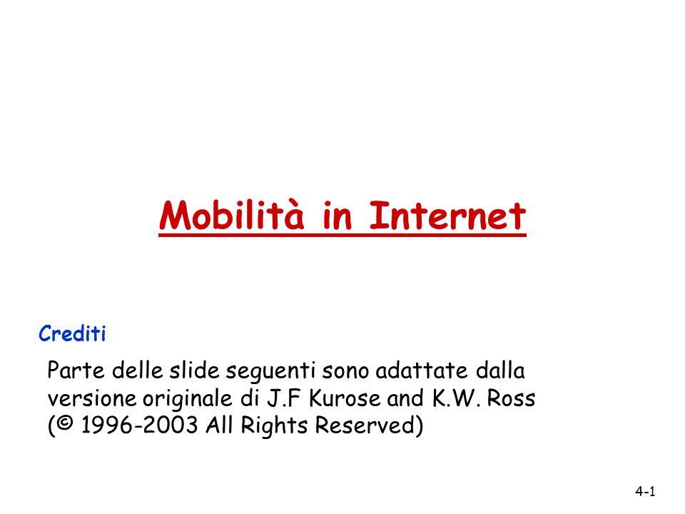 4-1 Mobilità in Internet Crediti Parte delle slide seguenti sono adattate dalla versione originale di J.F Kurose and K.W.