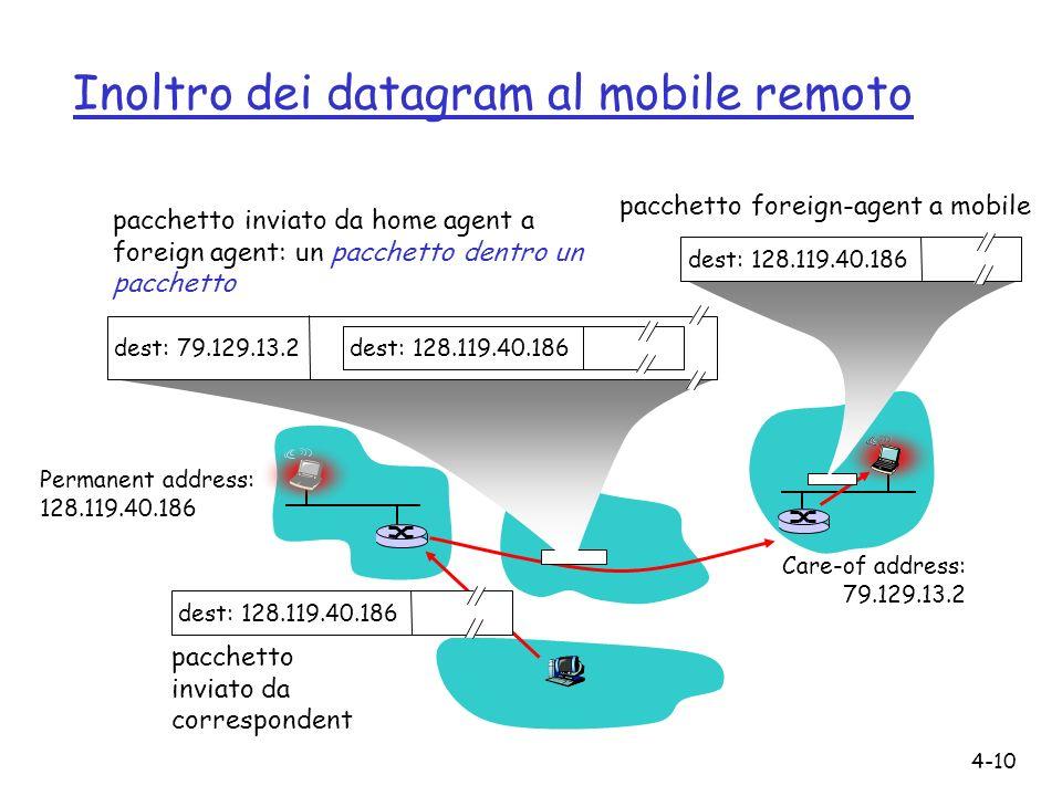 4-10 Inoltro dei datagram al mobile remoto Permanent address: 128.119.40.186 Care-of address: 79.129.13.2 dest: 128.119.40.186 pacchetto inviato da correspondent dest: 79.129.13.2 dest: 128.119.40.186 pacchetto inviato da home agent a foreign agent: un pacchetto dentro un pacchetto dest: 128.119.40.186 pacchetto foreign-agent a mobile