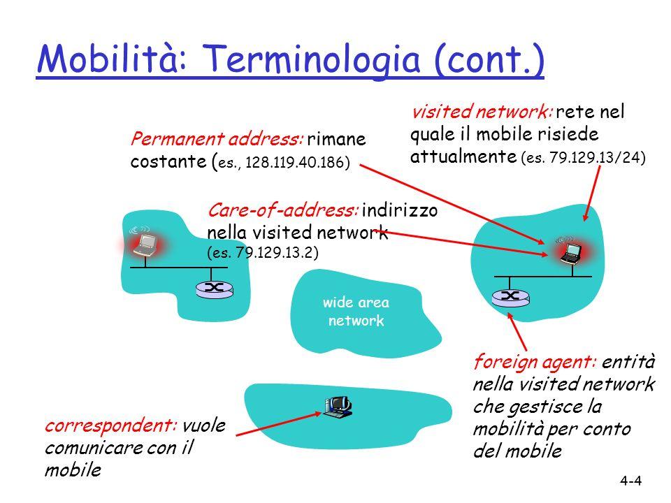 4-4 Mobilità: Terminologia (cont.) Care-of-address: indirizzo nella visited network (es.