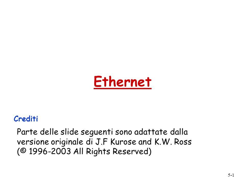 5-2 Ethernet Tecnologia LAN dominante: r Economica (poche decine di per scheda) r Prima tecnologia LAN usata diffusamente r Più semplce ed economica di Token Ring, FDDI e ATM r Ha adeguato la velocità negli anni: 10, 100, 1000 Mbps Progetto Ethernet originale di Metcalfe