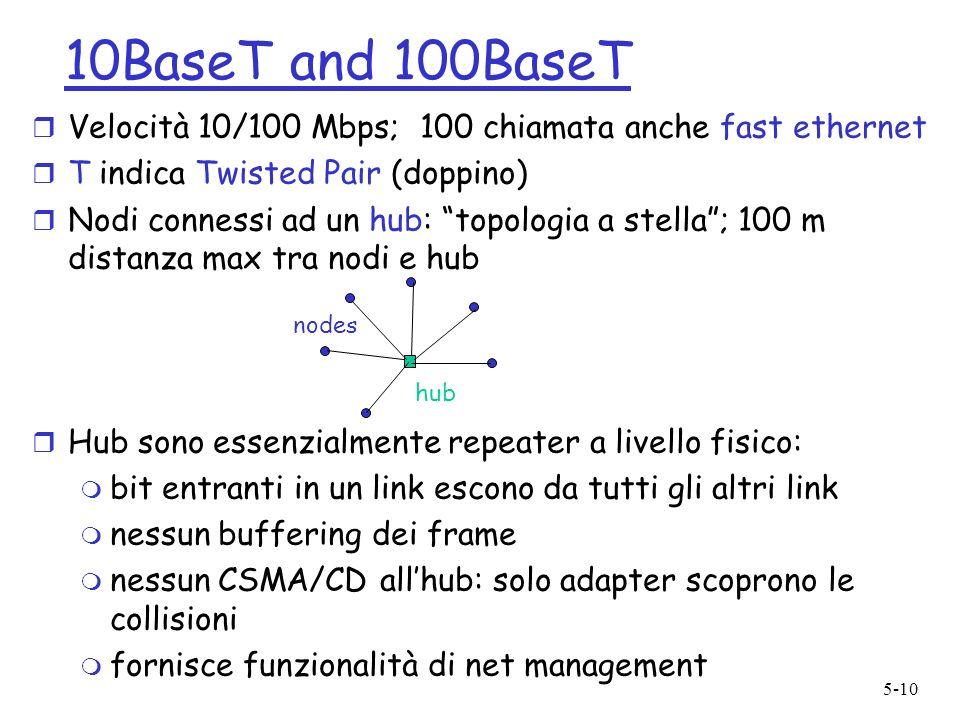 5-10 10BaseT and 100BaseT r Velocità 10/100 Mbps; 100 chiamata anche fast ethernet r T indica Twisted Pair (doppino) r Nodi connessi ad un hub: topolo