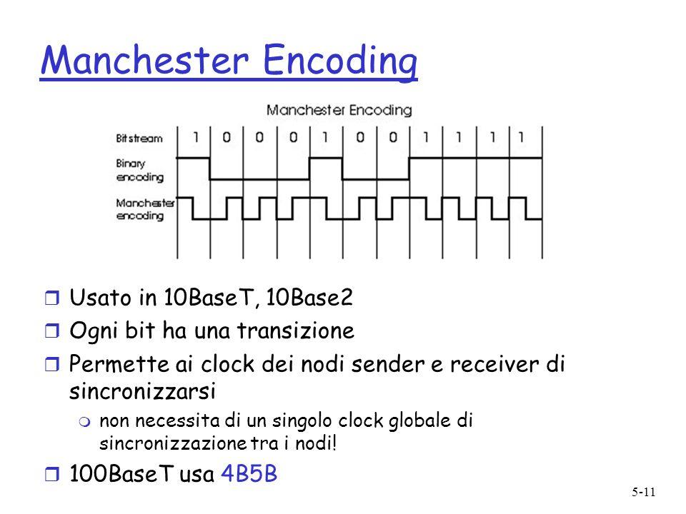 5-11 Manchester Encoding r Usato in 10BaseT, 10Base2 r Ogni bit ha una transizione r Permette ai clock dei nodi sender e receiver di sincronizzarsi m