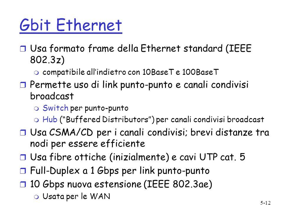 5-12 Gbit Ethernet r Usa formato frame della Ethernet standard (IEEE 802.3z) m compatibile allindietro con 10BaseT e 100BaseT r Permette uso di link p