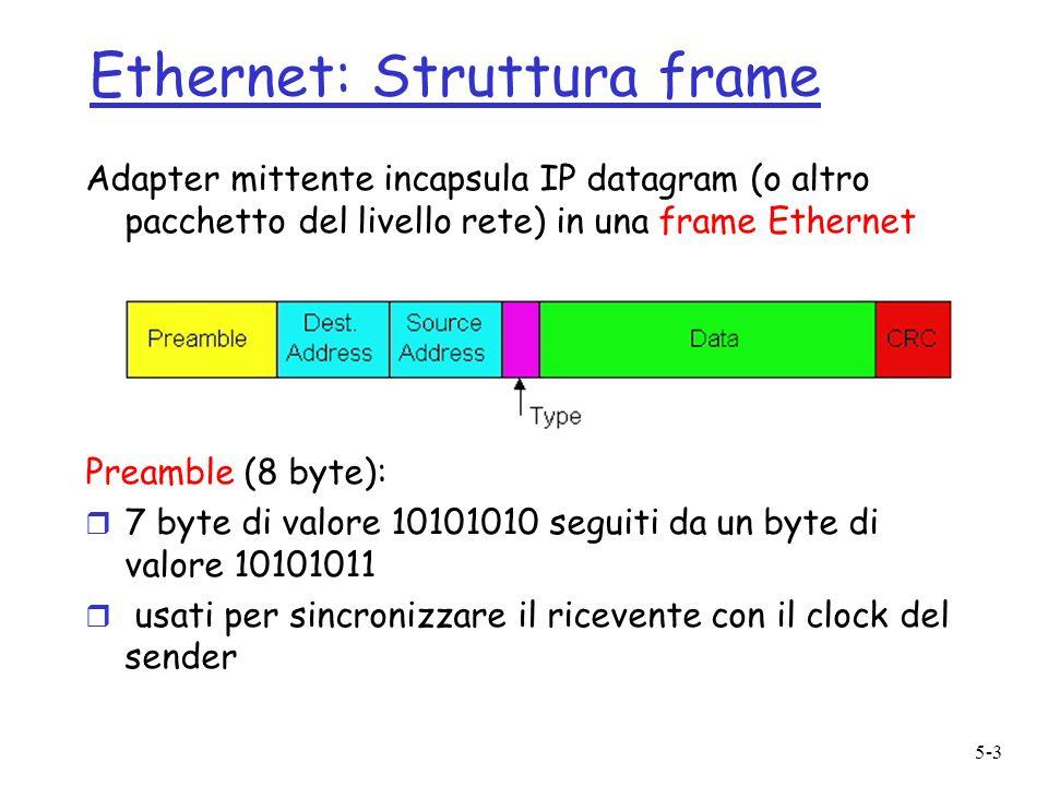 5-4 Ethernet: Struttura frame (cont.) r Addresses (6 byte): m se ladapter riceve frame con indirizzo coincidente (o boadcast) passa i dati nella frame al protocollo di livello rete m altrimenti ladapter cancella frame r Type (2 byte): indica il protocollo di livello più alto, principalmente IP ma altri possono essere supportati (Novell IPX, AppleTalk,…) r CRC (4 byte): controllato al receiver, se viene scoperto errore, la frame è semplicemente cancellata