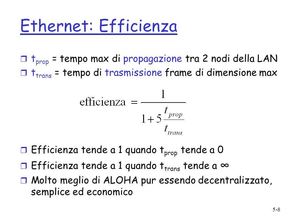 5-8 Ethernet: Efficienza r t prop = tempo max di propagazione tra 2 nodi della LAN r t trans = tempo di trasmissione frame di dimensione max r Efficie