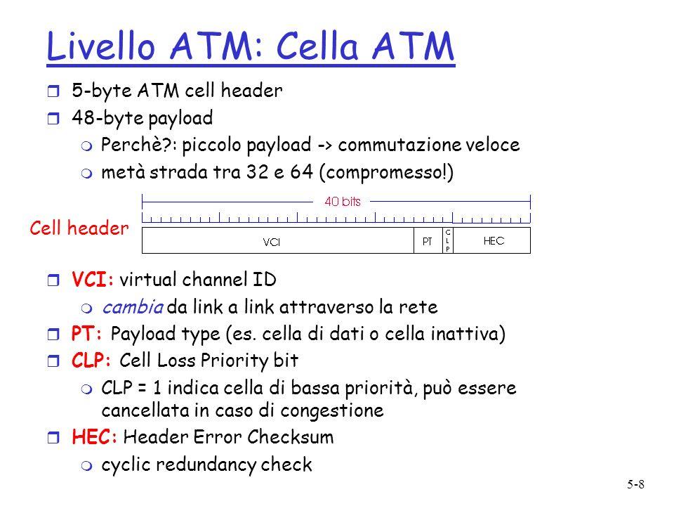 5-8 Livello ATM: Cella ATM r 5-byte ATM cell header r 48-byte payload m Perchè : piccolo payload -> commutazione veloce m metà strada tra 32 e 64 (compromesso!) r VCI: virtual channel ID m cambia da link a link attraverso la rete r PT: Payload type (es.