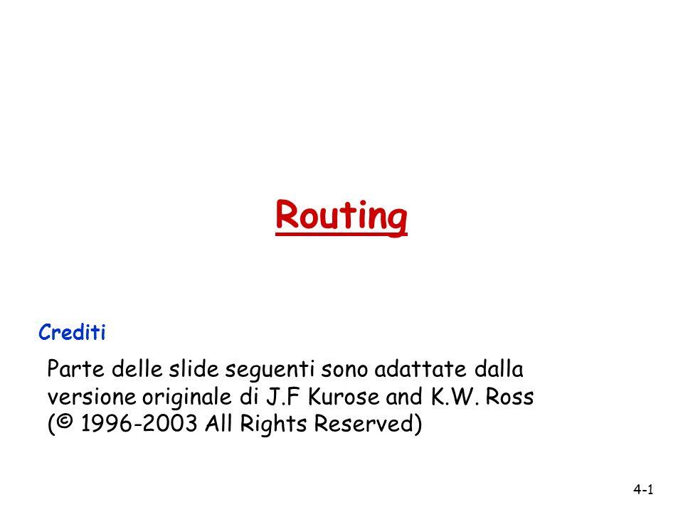 4-1 Routing Crediti Parte delle slide seguenti sono adattate dalla versione originale di J.F Kurose and K.W. Ross (© 1996-2003 All Rights Reserved)