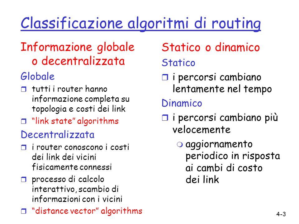 4-3 Classificazione algoritmi di routing Informazione globale o decentralizzata Globale r tutti i router hanno informazione completa su topologia e co