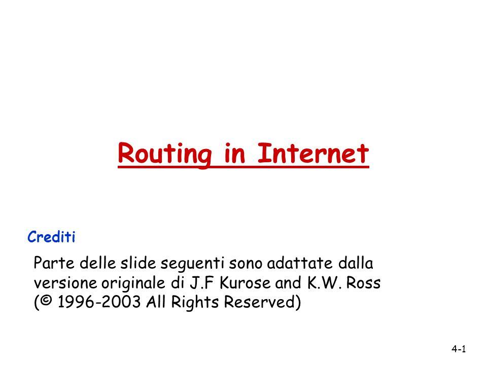 4-1 Routing in Internet Crediti Parte delle slide seguenti sono adattate dalla versione originale di J.F Kurose and K.W. Ross (© 1996-2003 All Rights