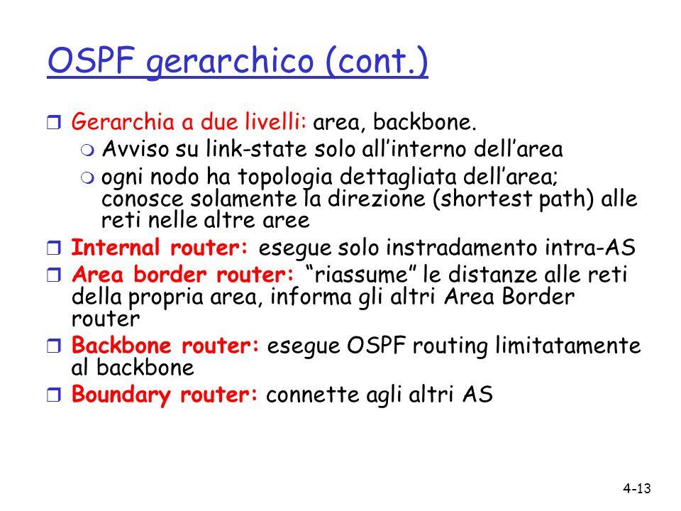 4-13 OSPF gerarchico (cont.) r Gerarchia a due livelli: area, backbone.