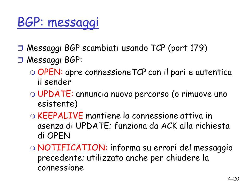 4-20 BGP: messaggi r Messaggi BGP scambiati usando TCP (port 179) r Messaggi BGP: m OPEN: apre connessioneTCP con il pari e autentica il sender m UPDA