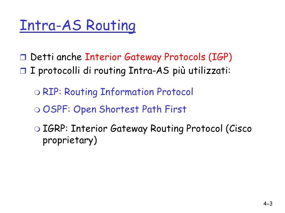 4-4 RIP ( Routing Information Protocol) r Algoritmo di tipo Distance Vector r Incluso nella Distribuzione BSD-UNIX nel 1982 r RFC 1058 (v1), RFC 2453 (v2) r Metrica di costo: numero di hop (max = 15 hop) r Distance vectors: scambiati tra i vicini ogni 30 s.