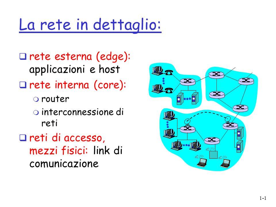 1-1 La rete in dettaglio: rete esterna (edge): applicazioni e host rete interna (core): m router m interconnessione di reti reti di accesso, mezzi fis