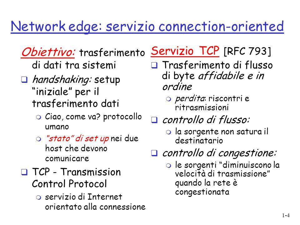 1-4 Network edge: servizio connection-oriented Obiettivo: trasferimento di dati tra sistemi handshaking: setup iniziale per il trasferimento dati m Ci
