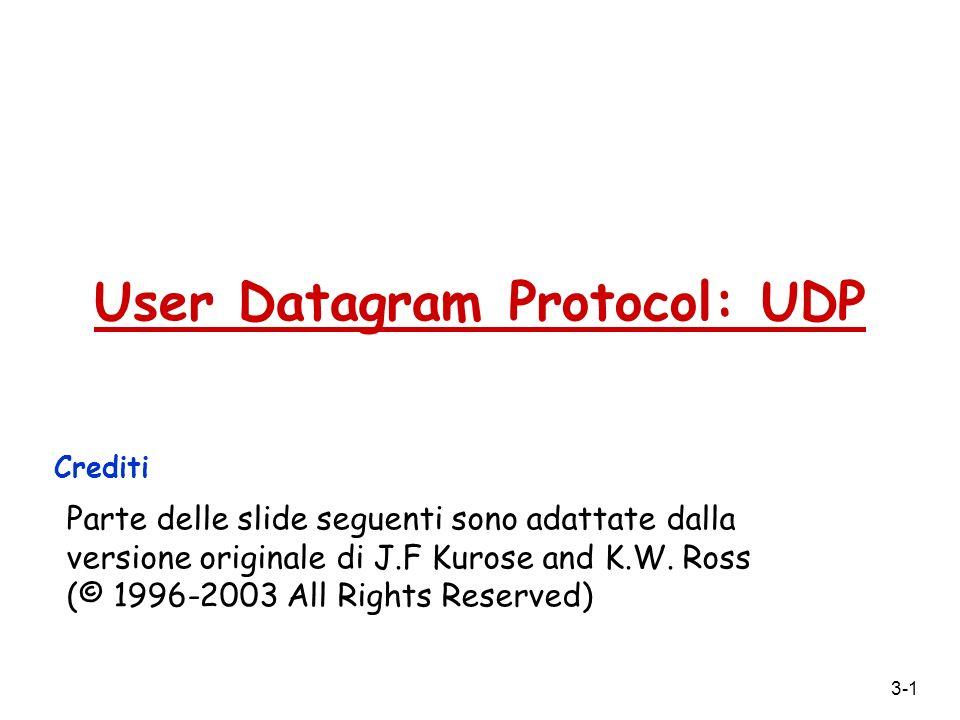 3-2 UDP: User Datagram Protocol [RFC 768] r funzioni minimali del protocollo di trasporto, aggiunge poco all IP m multiplexing/demultiplexing m verifica errori r servizio best effort, i segmenti UDP possono essere: m persi m consegnati non in ordine r servizio connectionless: m non cè handshaking tra sender e receiver UDP m ogni segmento UDP è gestito indipendentemente dagli altri Vantaggi dellUDP.