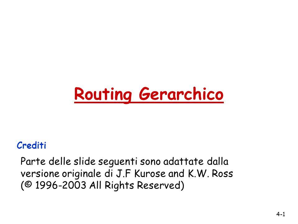 4-1 Routing Gerarchico Crediti Parte delle slide seguenti sono adattate dalla versione originale di J.F Kurose and K.W.