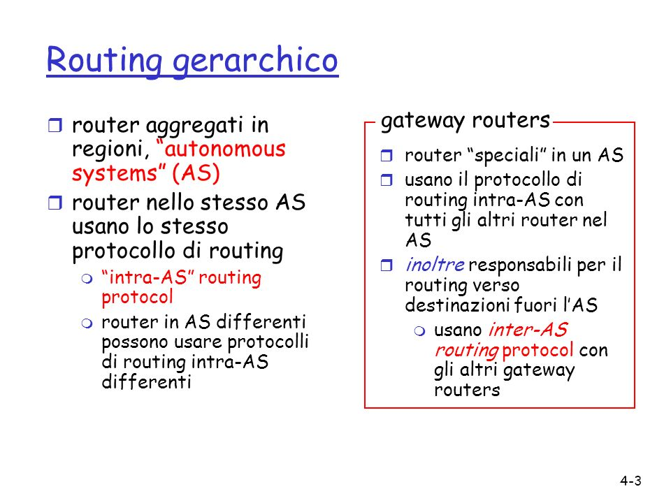 4-3 Routing gerarchico r router aggregati in regioni, autonomous systems (AS) r router nello stesso AS usano lo stesso protocollo di routing m intra-AS routing protocol m router in AS differenti possono usare protocolli di routing intra-AS differenti r router speciali in un AS r usano il protocollo di routing intra-AS con tutti gli altri router nel AS r inoltre responsabili per il routing verso destinazioni fuori lAS m usano inter-AS routing protocol con gli altri gateway routers gateway routers