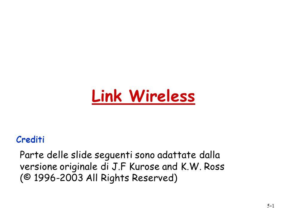 5-1 Link Wireless Crediti Parte delle slide seguenti sono adattate dalla versione originale di J.F Kurose and K.W.