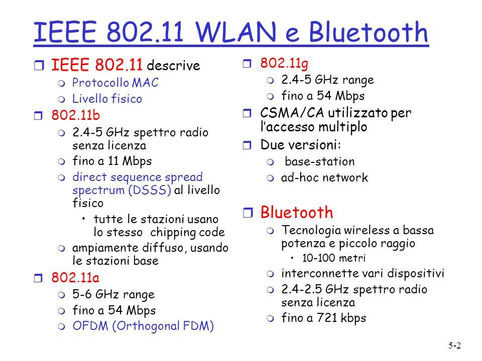 5-2 IEEE 802.11 WLAN e Bluetooth r IEEE 802.11 descrive m Protocollo MAC m Livello fisico r 802.11b m 2.4-5 GHz spettro radio senza licenza m fino a 11 Mbps m direct sequence spread spectrum (DSSS) al livello fisico tutte le stazioni usano lo stesso chipping code m ampiamente diffuso, usando le stazioni base r 802.11a m 5-6 GHz range m fino a 54 Mbps m OFDM (Orthogonal FDM) r 802.11g m 2.4-5 GHz range m fino a 54 Mbps r CSMA/CA utilizzato per laccesso multiplo r Due versioni: m base-station m ad-hoc network r Bluetooth m Tecnologia wireless a bassa potenza e piccolo raggio 10-100 metri m interconnette vari dispositivi m 2.4-2.5 GHz spettro radio senza licenza m fino a 721 kbps