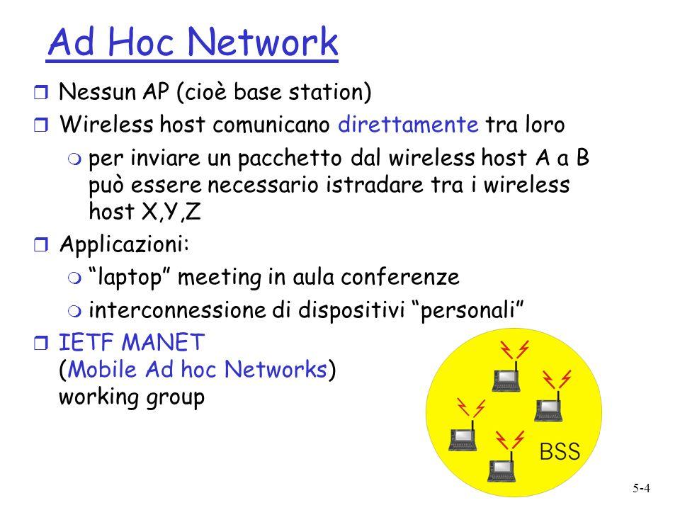 5-4 Ad Hoc Network r Nessun AP (cioè base station) r Wireless host comunicano direttamente tra loro m per inviare un pacchetto dal wireless host A a B può essere necessario istradare tra i wireless host X,Y,Z r Applicazioni: m laptop meeting in aula conferenze m interconnessione di dispositivi personali r IETF MANET (Mobile Ad hoc Networks) working group