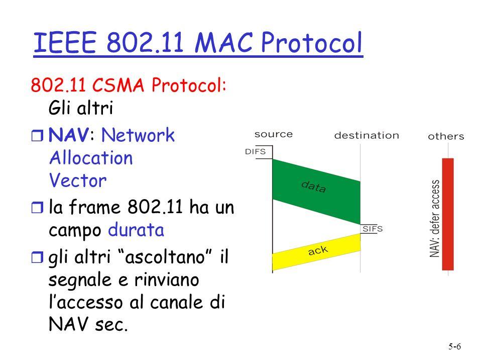 5-6 IEEE 802.11 MAC Protocol 802.11 CSMA Protocol: Gli altri r NAV: Network Allocation Vector r la frame 802.11 ha un campo durata r gli altri ascoltano il segnale e rinviano laccesso al canale di NAV sec.