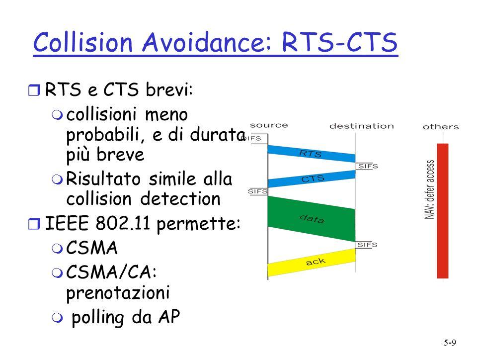 5-9 Collision Avoidance: RTS-CTS r RTS e CTS brevi: m collisioni meno probabili, e di durata più breve m Risultato simile alla collision detection r IEEE 802.11 permette: m CSMA m CSMA/CA: prenotazioni m polling da AP