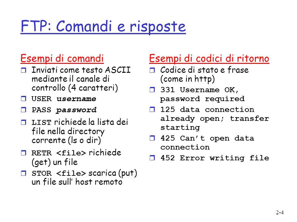 2-4 FTP: Comandi e risposte Esempi di comandi r Inviati come testo ASCII mediante il canale di controllo (4 caratteri) USER username PASS password LIST richiede la lista dei file nella directory corrente (ls o dir) RETR richiede (get) un file STOR scarica (put) un file sull host remoto Esempi di codici di ritorno r Codice di stato e frase (come in http) r 331 Username OK, password required r 125 data connection already open; transfer starting r 425 Cant open data connection r 452 Error writing file
