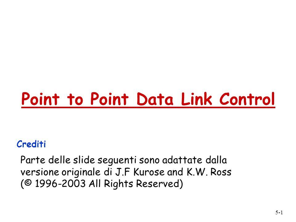 5-2 Point to Point Data Link Control r Un sender, un receiver, un link: più semplice del link broadcast: m nessun Media Access Control m non è necessario un indirizzamento MAC specifico m es.
