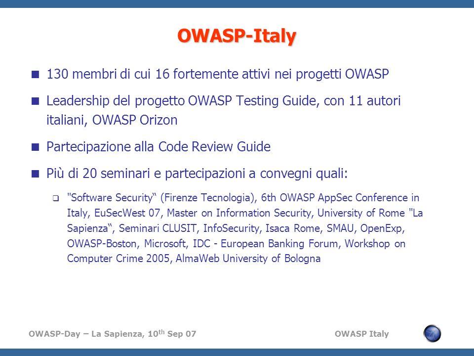 OWASP-Day – La Sapienza, 10 th Sep 07 OWASP Italy OWASP-Italy 130 membri di cui 16 fortemente attivi nei progetti OWASP Leadership del progetto OWASP