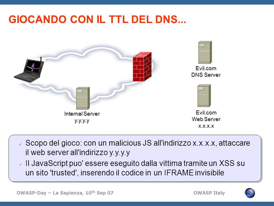 OWASP-Day – La Sapienza, 10 th Sep 07 OWASP Italy GIOCANDO CON IL TTL DEL DNS... Evil.com DNS Server Evil.com Web Server x.x.x.x Internal Server y.y.y