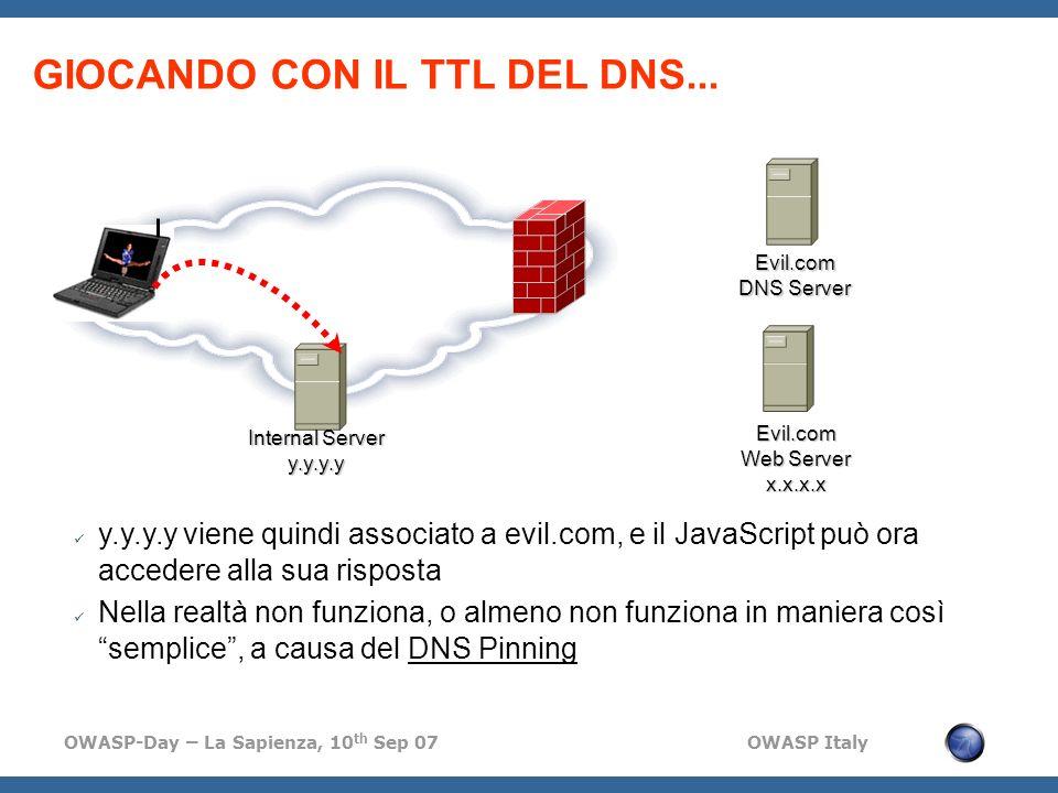 OWASP-Day – La Sapienza, 10 th Sep 07 OWASP Italy GIOCANDO CON IL TTL DEL DNS...