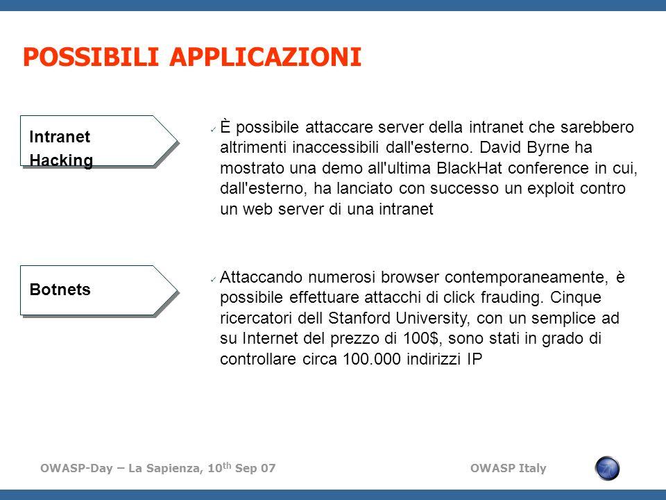 OWASP-Day – La Sapienza, 10 th Sep 07 OWASP Italy POSSIBILI APPLICAZIONI È possibile attaccare server della intranet che sarebbero altrimenti inaccessibili dall esterno.