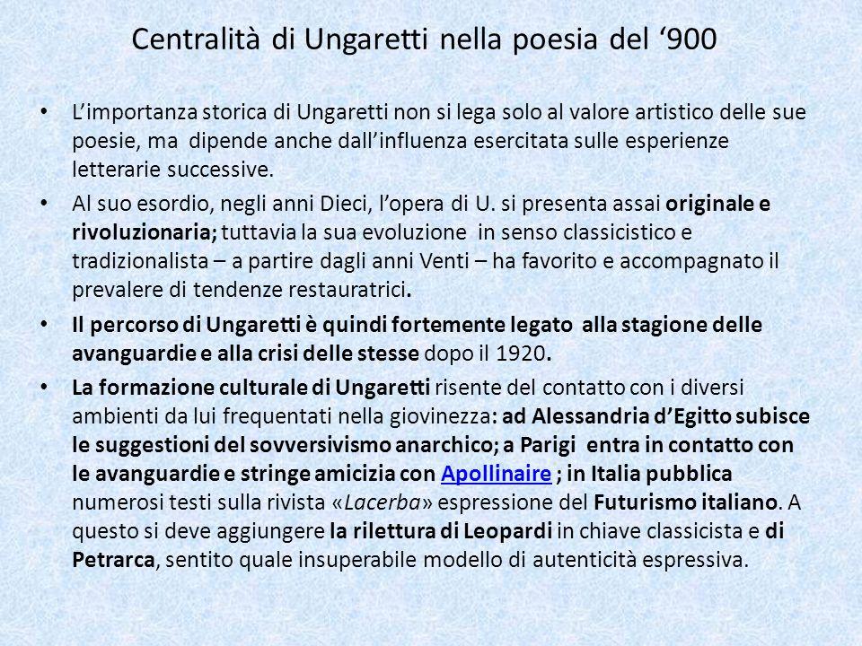 Centralità di Ungaretti nella poesia del 900 Limportanza storica di Ungaretti non si lega solo al valore artistico delle sue poesie, ma dipende anche
