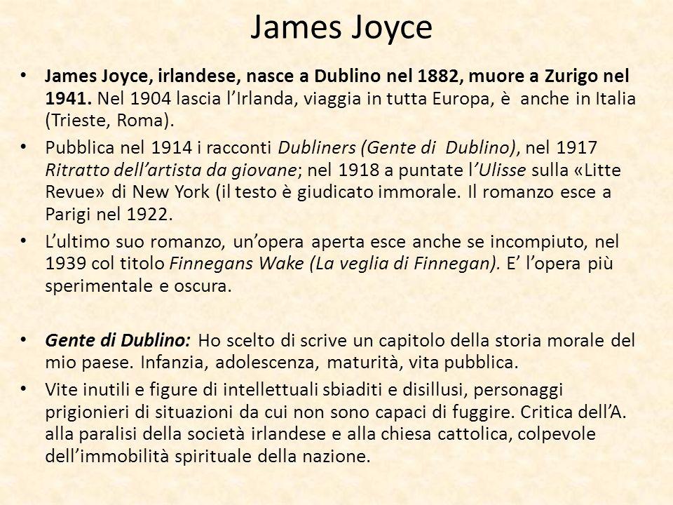 James Joyce James Joyce, irlandese, nasce a Dublino nel 1882, muore a Zurigo nel 1941. Nel 1904 lascia lIrlanda, viaggia in tutta Europa, è anche in I