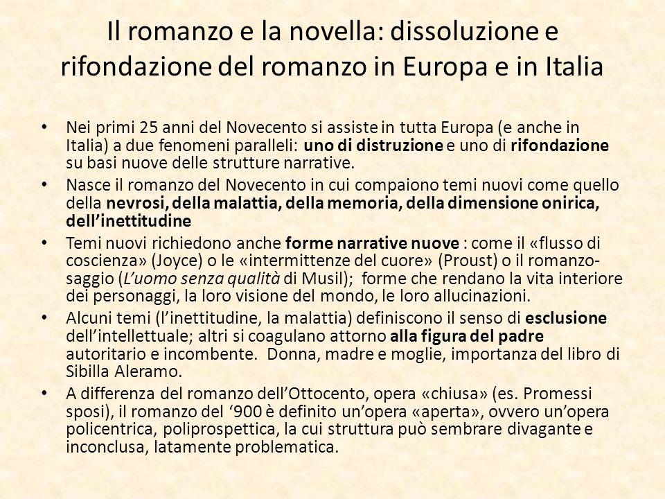 Il romanzo e la novella: dissoluzione e rifondazione del romanzo in Europa e in Italia Nei primi 25 anni del Novecento si assiste in tutta Europa (e a
