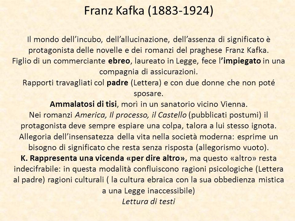 Franz Kafka (1883-1924) Il mondo dellincubo, dellallucinazione, dellassenza di significato è protagonista delle novelle e dei romanzi del praghese Fra